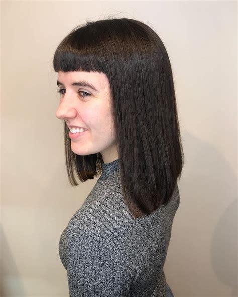 collar bone medium hair with blunt bangs in love no 36 popular medium length hairstyles with bangs updated