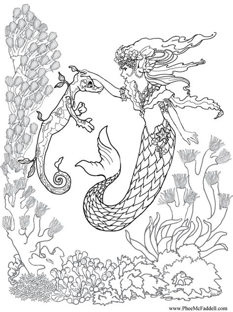 mermaids grayscale coloring book coloring books for adults books mermaid a seahorse coloring page coloring pages