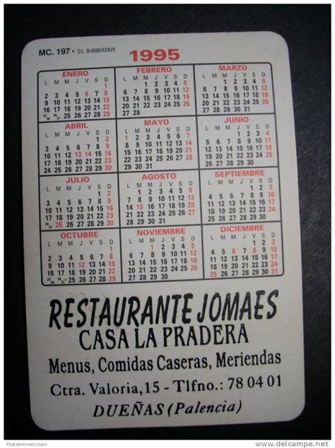 Calendario De 1995 Calendario Calendar Calendrier Espa 209 A Spain Spagne Clases