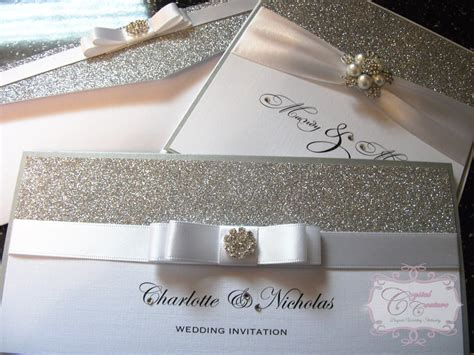 silver wedding invitations uk glitter and silver wedding invitation 171 couture