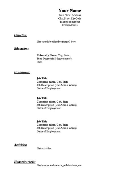 resume basic template sle of basic resume experience resumes