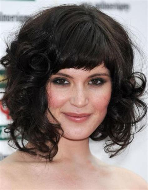 hair cut between ear and shoulder 30 cute styles featuring curly hair with bangs medium