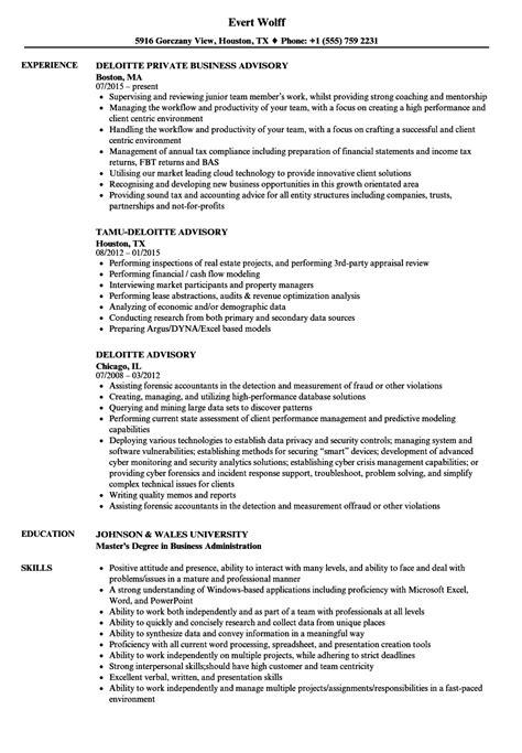 deloitte advisory resume sles velvet