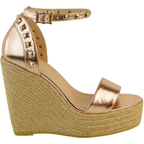 womens studded high wedge heels sandals summer