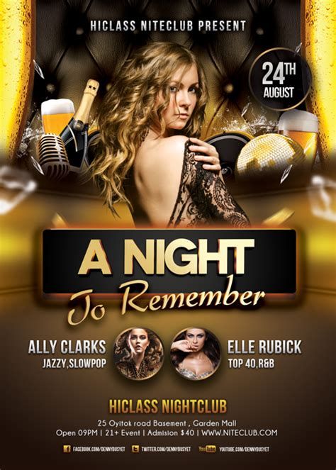 a night to remember nightclub flyer template psd flyer