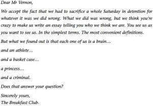 The Breakfast Club Essay by Brian S Essay From The Breakfast Club