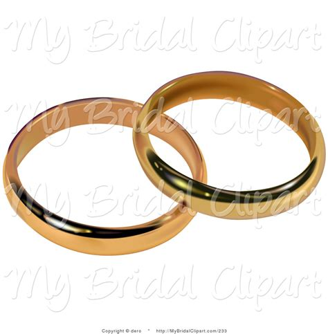 bridal clipart of two gold bridal wedding bands resting