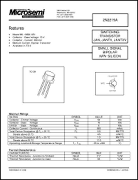 Quality Transistor Tr 2n2219 2n2219a 2n 2219 A Npn New microsemi corp 2n2219 series datasheets 2n2219 jantx2n2218al jantx2n2218a 2n2219a