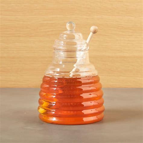 beehive glass honey jar  wood dipper reviews crate