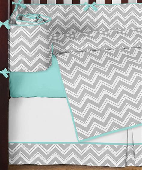 Unique Modern Gray Turquoise And White Chevron Baby Boy Or Chevron Boy Crib Bedding