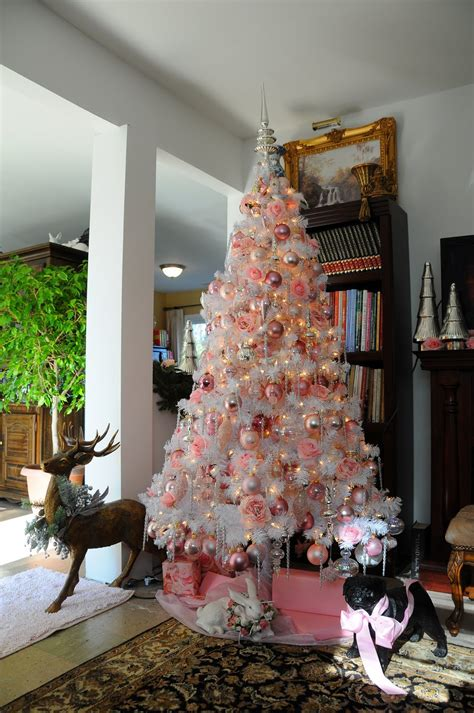 sweet designs white christmas tree with pink gold and