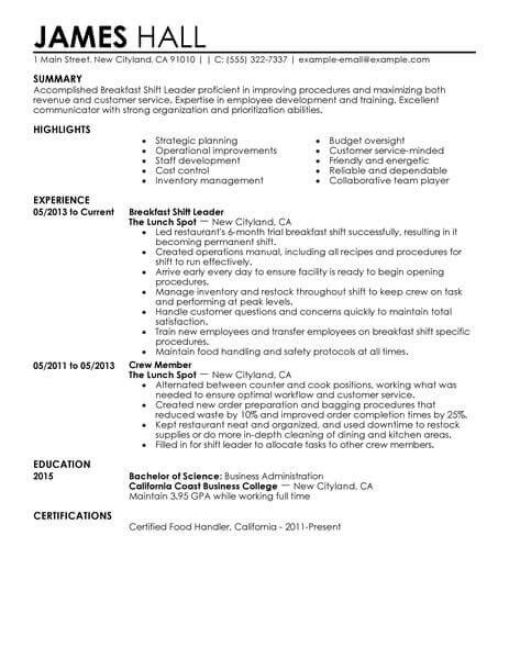 Shift Leader Resume by Best Breakfast Shift Leaders Resume Exle Livecareer