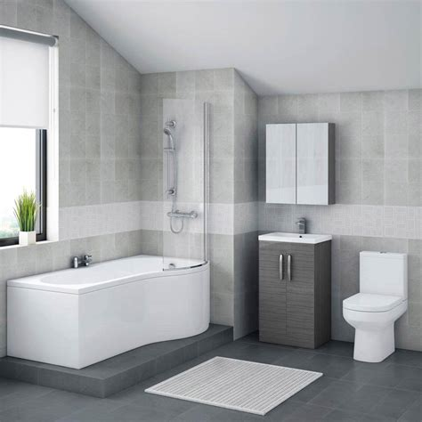 L Shaped Shower Bath Suites brooklyn grey avola bathroom suite with b shaped bathtub