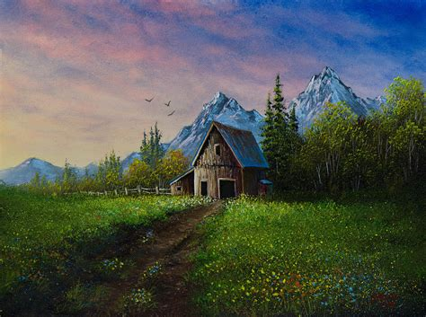 bob ross painting a barn alpine barn painting by c