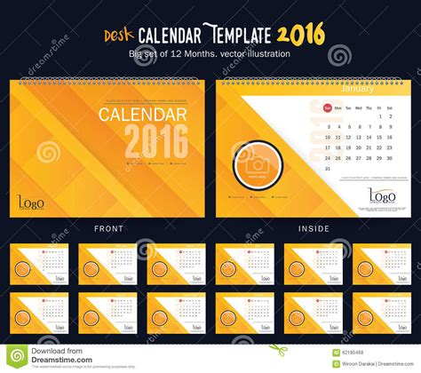 table calendar design vector desk calendar 2016 vector design template big set of 12