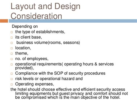 hotel layout and area requirements hotel security
