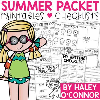 resources for summer packets middle school 7th grade summer packet for 1st graders worksheets checklists