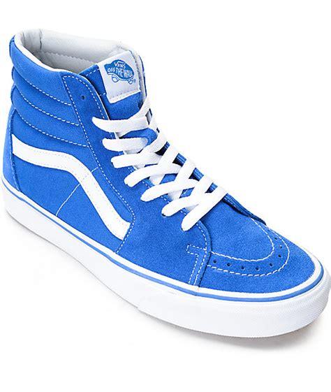 vans sk8 hi imperial blue white skate shoes zumiez