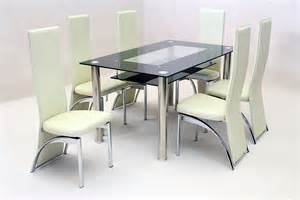 heartlands vegas black glass dining table with 6 chairs