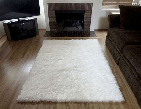 Cowhide Rug In Living Room Super Plush White Faux Fur Area Rug From France