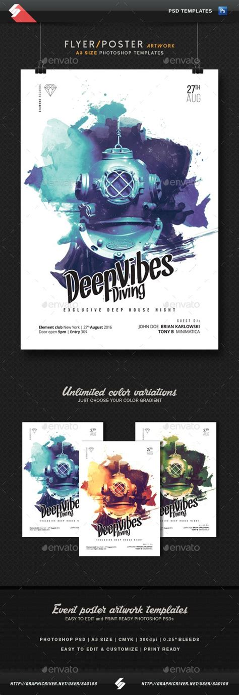 templates for a3 posters deep vibes diving minimal party flyer template a3