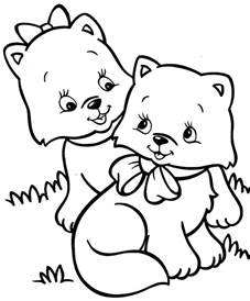 cut kittens colouring pages