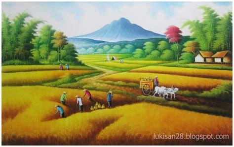 Lukisan Pemandangan Pegunungan lukisan pemandangan lukisan pemandangan sawah