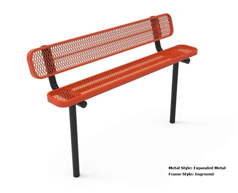 rhino 8 foot rectangular thermoplastic metal bench with