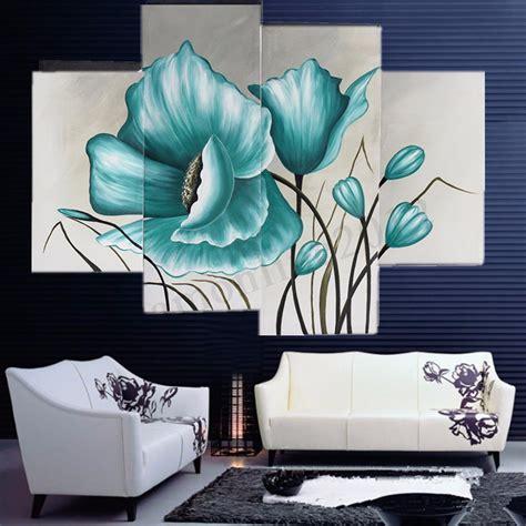 cuadros murales 4x grandes floral azul cuadro abstracto decorativos