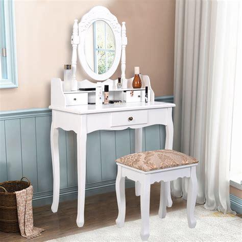 makeup vanity dresser vanity table jewelry makeup desk bench dresser w stool 3
