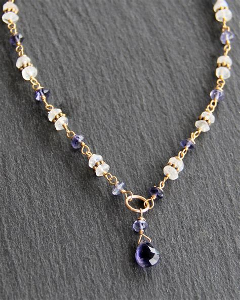 Bali Necklaces Handmade - iolite moonstone bali necklace handmade jewelry