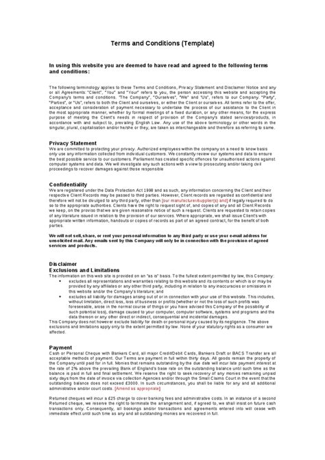 standard terms and conditions template free terms and conditions template peerpex