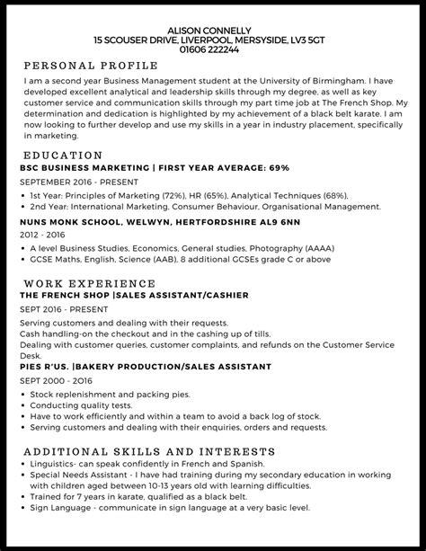 exle cv for uk jobs cv exle studentjob studentjob
