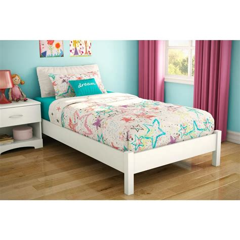 white twin size bed south shore step one twin size platform bed in pure white