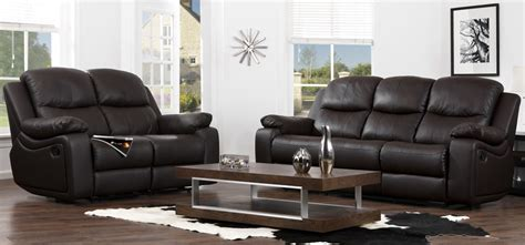Leather Sofas 3 2 1 Montreal Espresso Brown Reclining 3 2 1 Seater Leather Sofa Set Sofashop