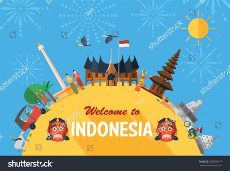 design product indonesia flat design indonesia icons landmarks fireworks stock
