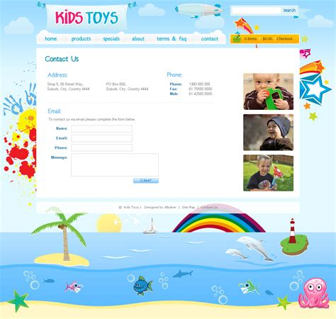 Kids Toys 9 Page Html Site By Dtbaker Themeforest Children S Portfolio Template Free