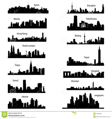 Geneva Batik Black silhouettes of asian cities stock vector illustration of