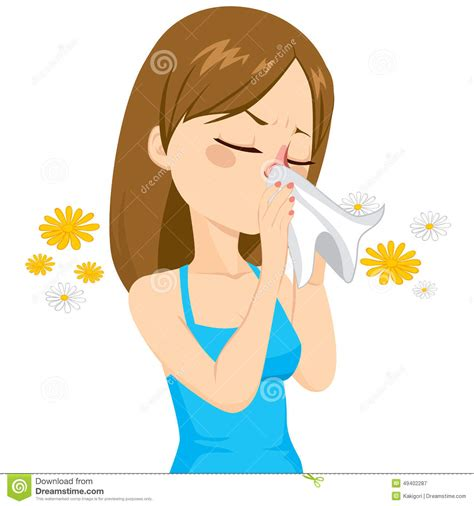 sneeze treatment blowing nose with tissue stock vector image 49402287