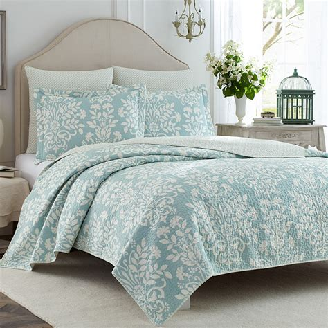 coverlet set laura ashley rowland blue quilt set from beddingstyle com