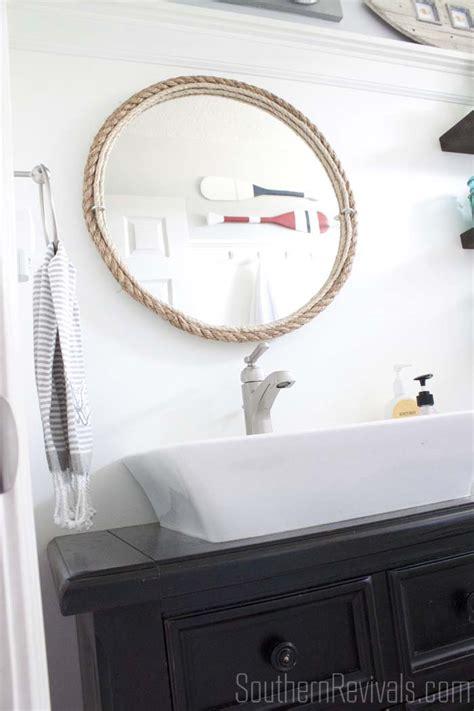 nautical bathroom mirror diy rope mirror tutorial nautical style bathroom mirror