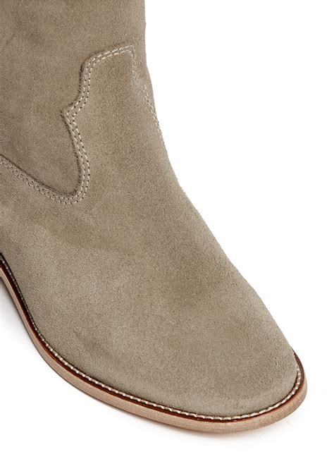marant slippers 201 toile marant cleave suede knee high boots in gray