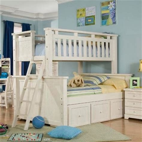 white bunk beds twin over full casual wood weathered white twin over full bunk bed
