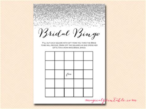 wedding bingo card template silver glitter bridal shower pack magical printable