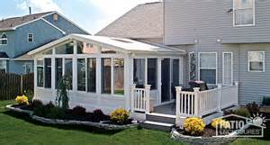 Joyce Sunrooms All Season Sunroom White Vinyl Frame With Gable Roof And
