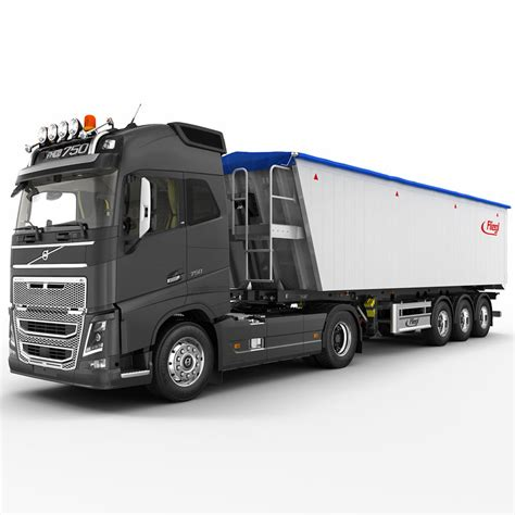 volvo semi models fh 2012 semi trailer 3d model