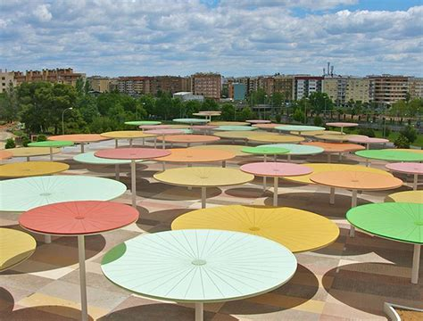 Small Patio Umbrellas Giant Rainbow Hued Umbrellas Pop Up In Spain Inhabitat