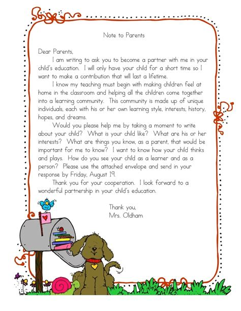 Introduction Letter Home To Parents Letter To Parents On Introduction Letter Read 180 And Kindergarten