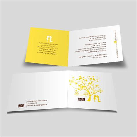 Einladungskarten Hochzeit Gelb by Hochzeitseinladung Liebesbaum In Gelb