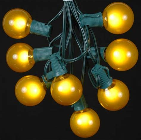 Yellow Gold Satin G50 Globe Round Outdoor String Light Yellow String Lights
